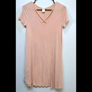 Wet Seal peach tone strappy neck jersey dress